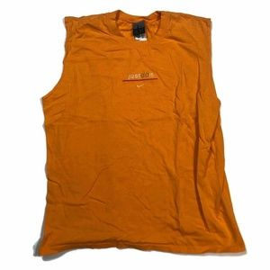 Vintage Nike Mens Tank Tee Orange Solid Just Do It